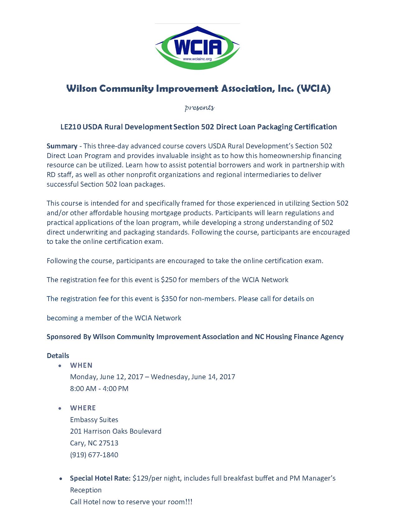 Rural Home Loans (USDA) - Wilson Community Improvement Association ...
